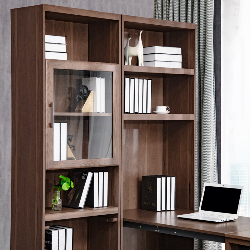 Solid Wood Desk Bookshelf Combination Home Computer Writing Multi Function Folding Telescopic Removable Bookcase