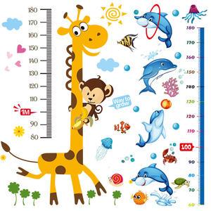 墙贴身高贴儿童房幼儿园卡通宝宝身高贴纸自粘长颈鹿墙壁装饰贴画