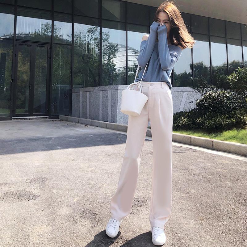 阔腿裤女春秋款薄长裤坠垂感直筒裤韩版学生高腰宽松西装拖地工装