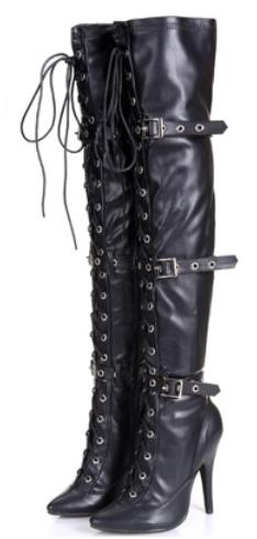 超高弹力性感靴女鞋靴长筒靴子韩版骑士跟长靴过膝细跟秋冬季细带