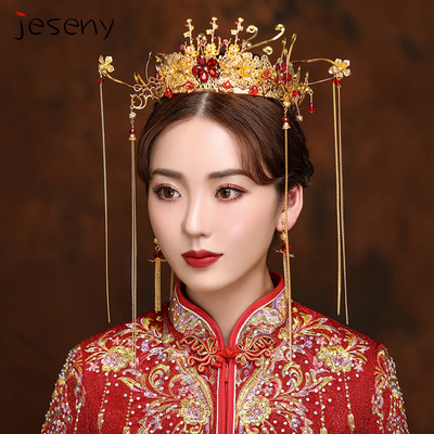 Chinese costume hair accessories Headdress Set Chinese Wedding Ancient Dress Flow Comb Phoenix Crown Whole Ring Hair Hoop Xiuhe Headdress