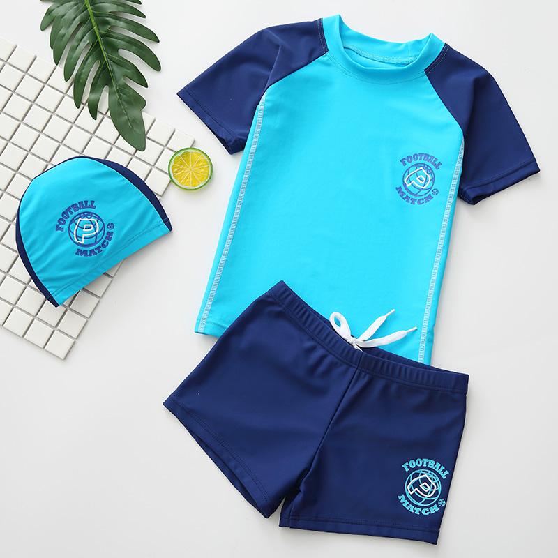 羽克儿童泳衣男童分体泳裤套装中大童小孩宝宝青少年学生游泳装备
