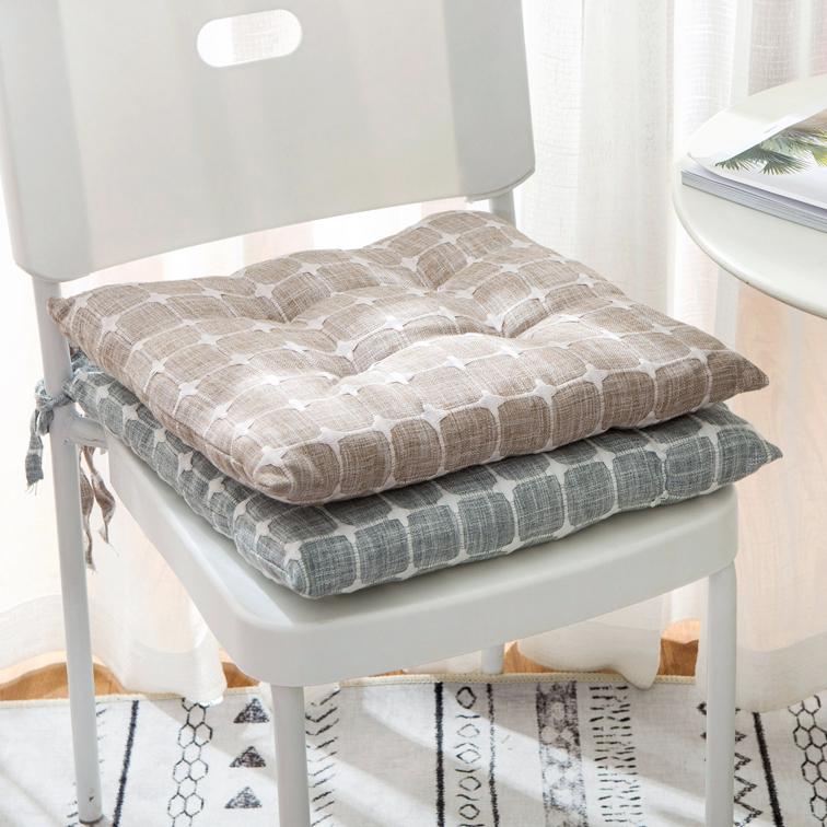 Lưới đơn giản Nhật Bản vải lanh dày đệm ghế ăn đệm phong cách Nhật Bản bông và vải lanh bàn phân bốn mùa đệm Bắc Âu - Ghế đệm / đệm Sofa