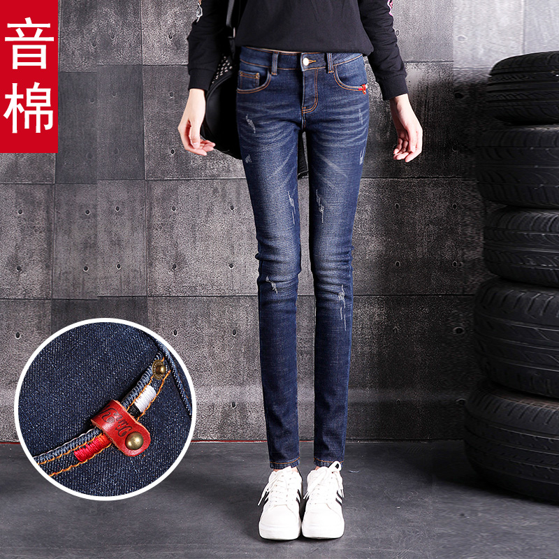 Ladies 2018 New pants with velvet thickened winter hundred Korean version of thin feet autumn and winter high waist jeans female