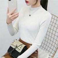 Половина высокая воротник белый Свитер женская нижняя рубашка длинный рукав свитер с высоким воротом осень-зима новая коллекция короткий приталенный тугой трикотажный рубашка