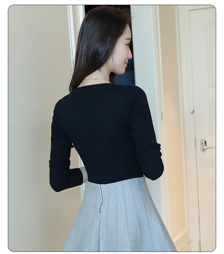 2020春季新款女裝V領彈力針織套頭打底衫顯瘦修身長袖毛衣上衣潮 〖新生活〗