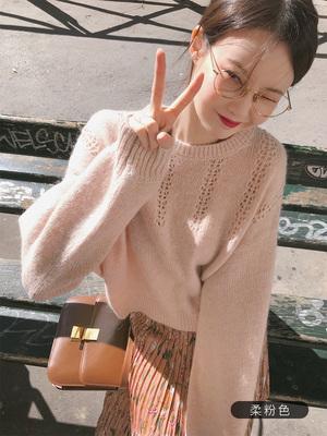张大奕 低圆领短款毛衫女秋季新款宽松舒适甜美套头长袖潮