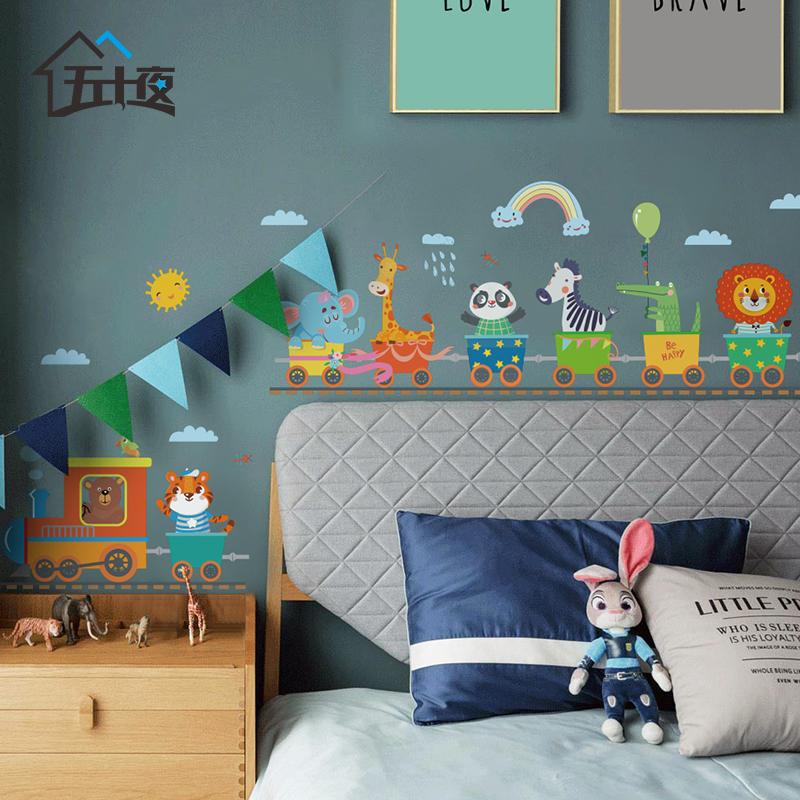 USD 14.18] Animal train wallpaper self-adhesive children\'s room ...