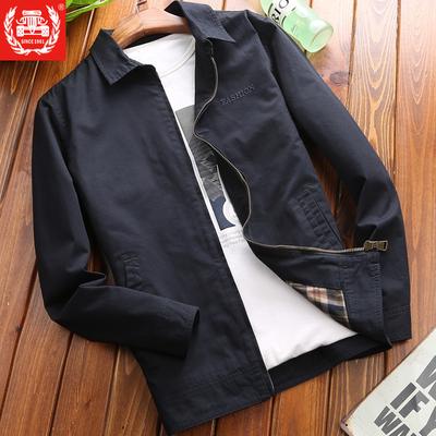 Cotton kinh doanh bình thường của nam giới áo khoác mùa xuân và mùa thu thanh niên lỏng mùa xuân và mùa thu của nam giới 2018 new ve áo áo khoác nam Áo khoác