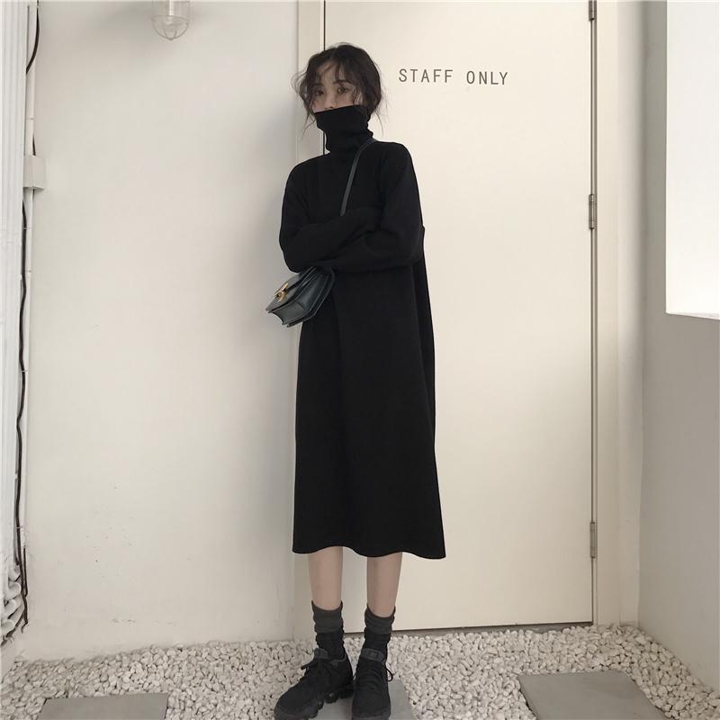 韩版冬季针织连衣裙女2019新款长裙裙套头裙子毛衣打底过膝高领潮