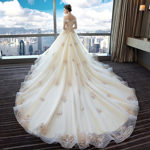 2018 new style nuptial dress formal clothes bride marries trailing princess an illusion Europe and America character shoulder pregnant woman big code to reveal the thin summer