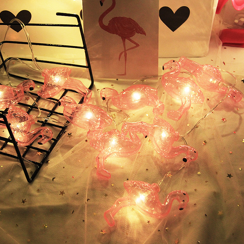 INS Flamingo lamp string Hanfeng girl Heart room decoration led star starry net red light string photo props