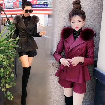European goods foreign style net red hot shoulder real hair lapels waist wash Pew shorts two-piece set plus cotton thick tide winter