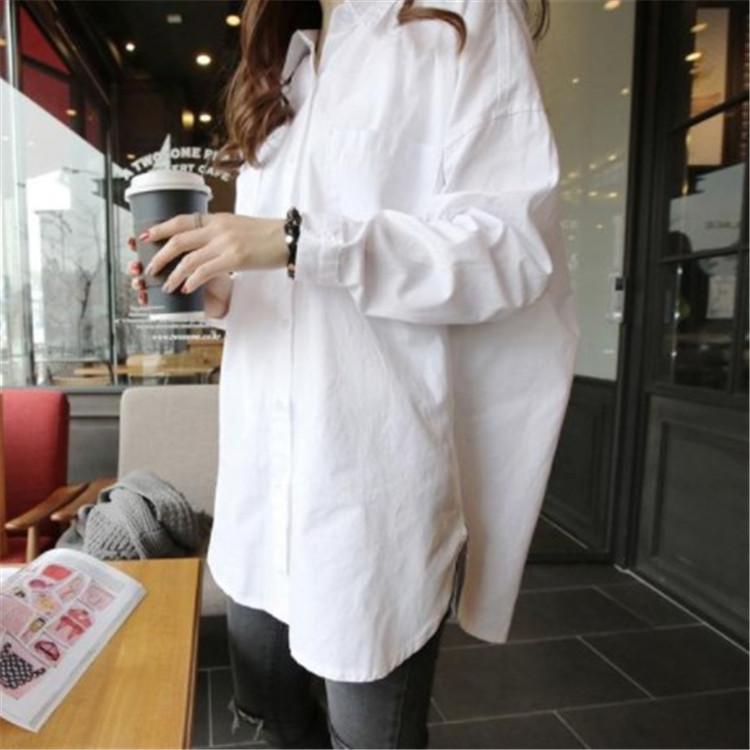 2019春装新款大码衬衣女长袖宽松韩版大版时尚洋气大款中长款衬衫