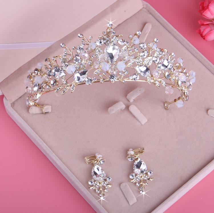 新款新娘皇冠 结婚头饰 绑手工水晶皇冠耳环套装 水钻皇冠包邮