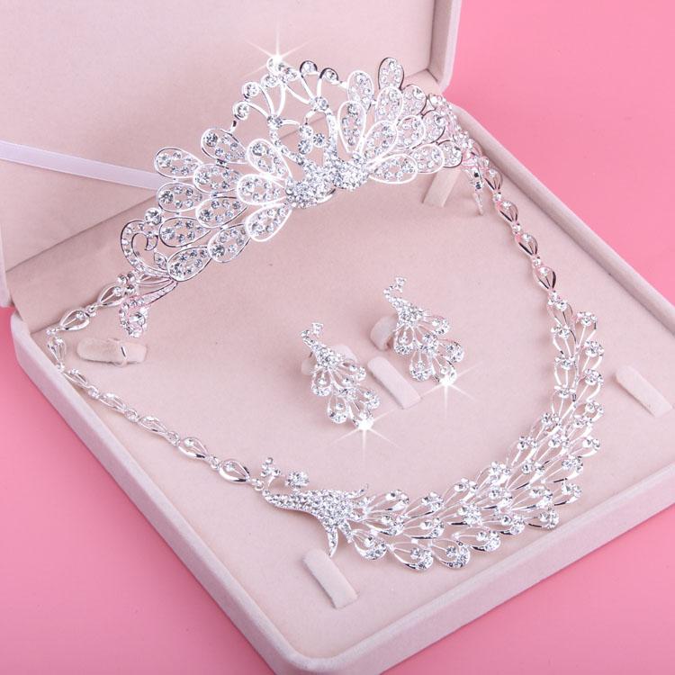 新款新娘结婚项链 孔雀皇冠项链耳环 婚纱水钻套链三件套包邮
