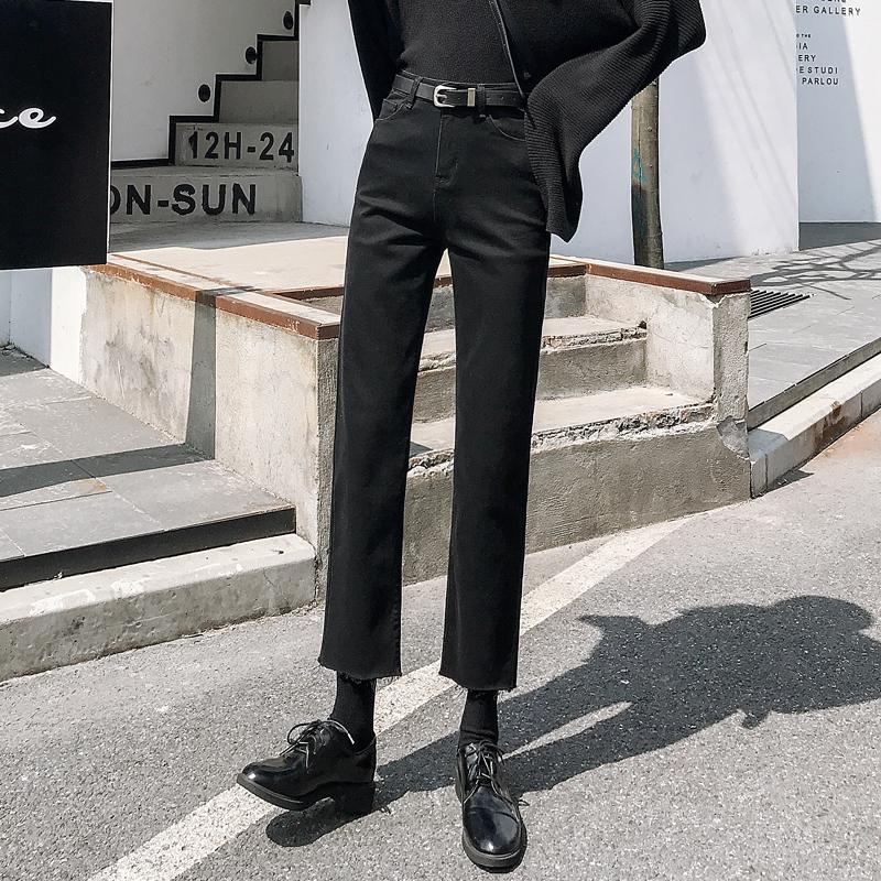 黑色加绒牛仔裤女直筒宽松九分裤