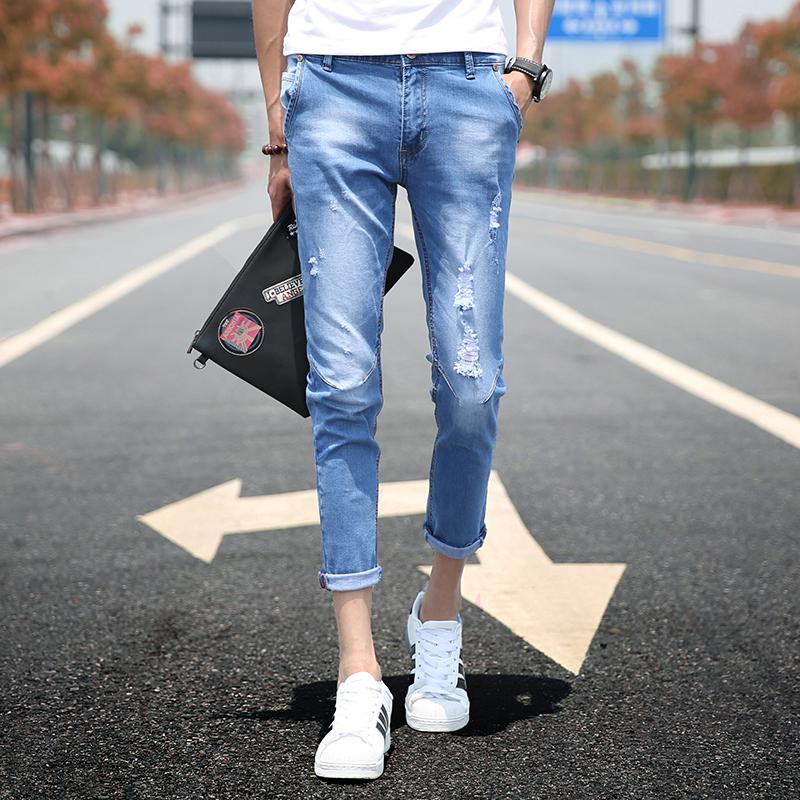Брюки мужской корейская версия модные 2018 новая коллекция Отверстия джинсы мужской Девять штанов приталенный мужской необработанный для отдыха брюки