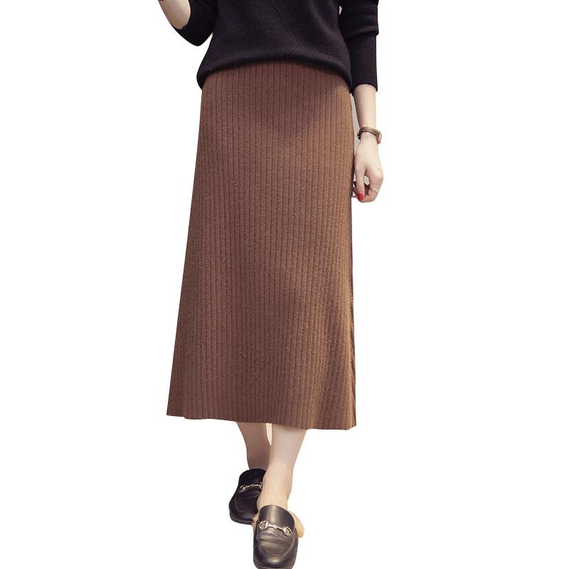 秋冬新款韩版加厚中长款ins超火毛线裙子针织裙高腰摆裙a字半身裙