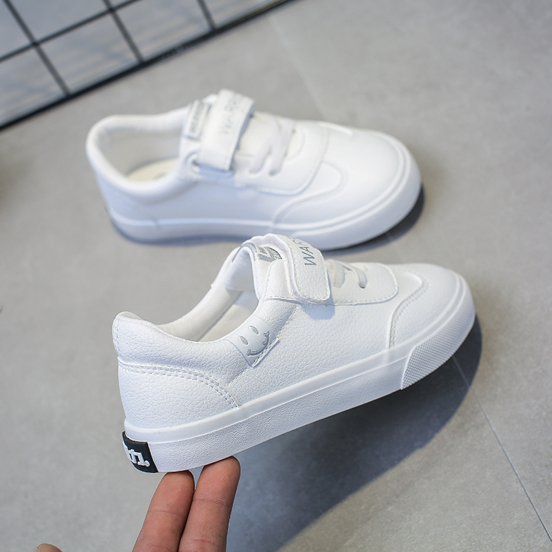 Pull back children's shoes 2019 spring new boys shoes children's small white shoes girls shoes white board shoes school girl shoes