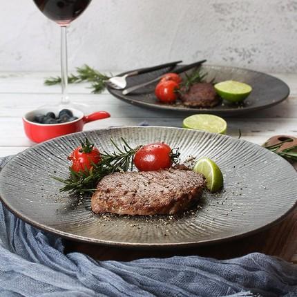 创意盘子日式黑色圆形磨砂陶瓷餐具餐盘菜盘家用个性西餐盘牛排盘