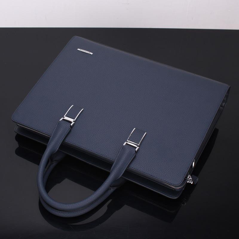 品牌男士手提包横款商务公文包 牛皮时尚休闲男包电脑文件包蓝色