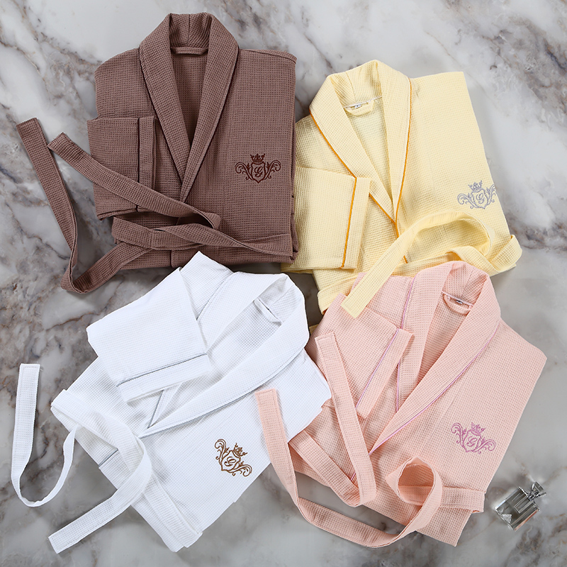 Five-star hotel cotton bathrobe Waffle cotton pajamas bathrobe couple  Summer men and women thin 38582c74c