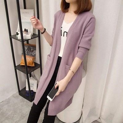 2019秋冬新款韩版针织开衫女中长款外搭长袖宽松纯色披肩毛衣外套