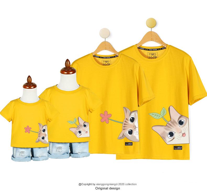 一家三口四口亲子装母女装洋派母子短袖年新款潮恤婴儿童装详细照片