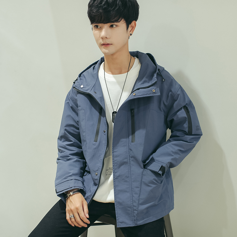 Men's tooling jacket autumn 2019 new trend jacket men's casual handsome ins Tide brand clothes hooded cec