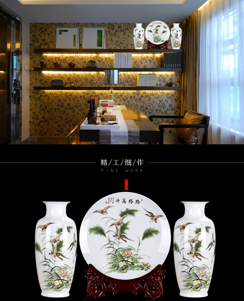 New Chinese style of jingdezhen ceramics wine place living room TV cabinet office rich ancient frame decorative arts and crafts