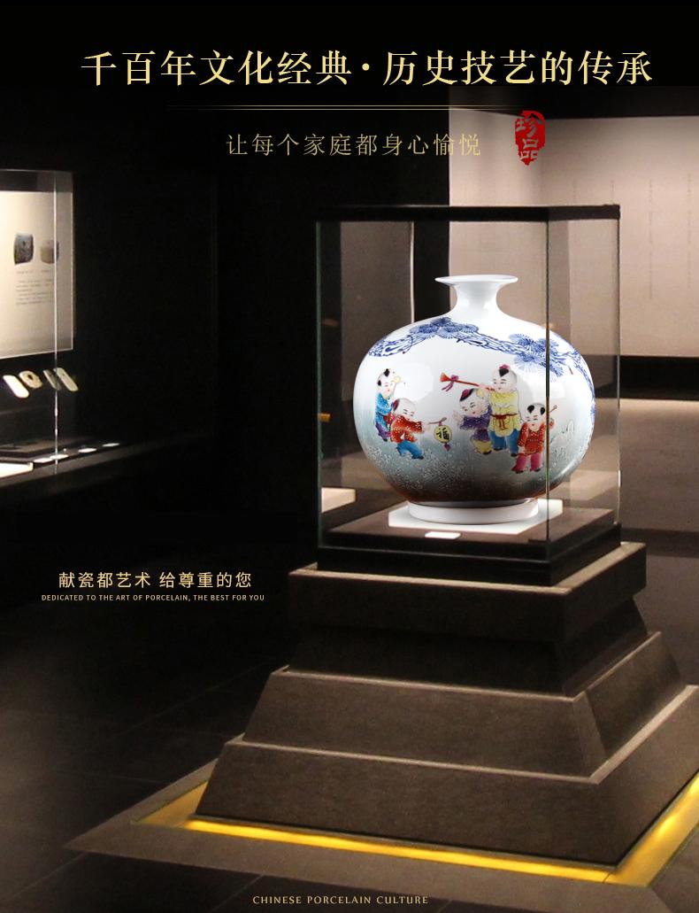 花瓶2021新款手绘童子景德镇陶瓷器摆件客厅插花青花瓷中式装饰品