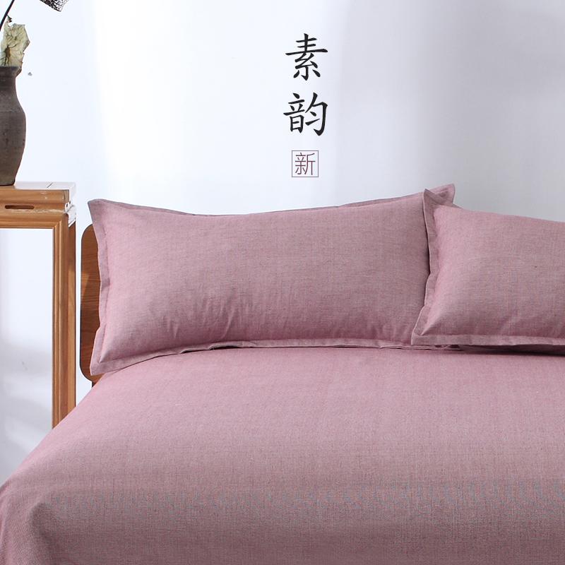 老单件床单粗布加厚单人粉色2.3简约1.8米双人床纯棉裸睡夏天夏季