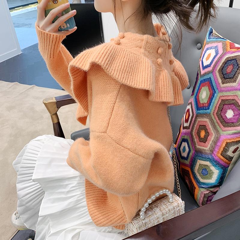 橘色毛衣女2019新款宽松外穿时尚洋气针织衫开衫外套秋冬百搭加厚