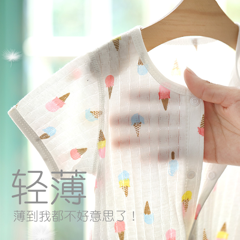 Baby summer jumpsuit men and women baby cotton short-sleeved robe newborn summer thin section clothes summer romper