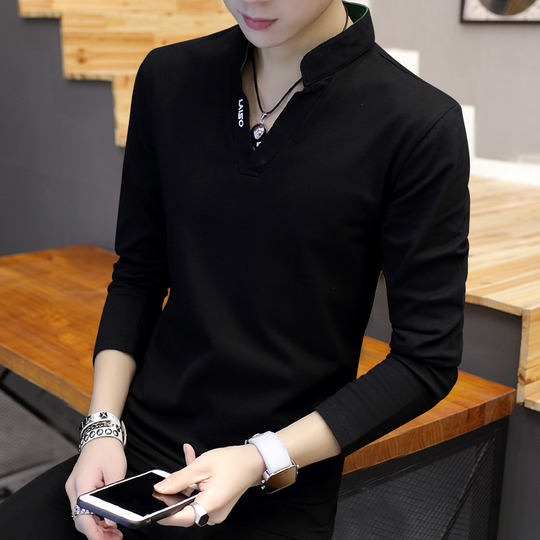 Men's t-shirt long-sleeved V-neck dress shirt 2018 autumn Korean version of the self-cultivation plus velvet bottoming shirt trend sweater