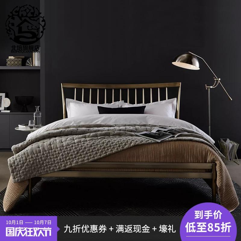 鐵藝床不銹鋼公主床1.8米1.5米簡約現代金色鐵架床北歐鐵藝雙人床