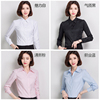 Cotton spring and autumn winter white shirt female long-sleeved plus velvet warm professional V-neck loose overalls plus size shirts women's clothing