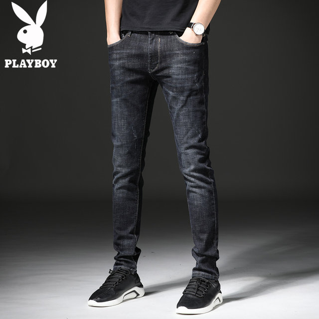 Playboy summer thin jeans men's slim feet summer pants men's trousers Korean trend high-end