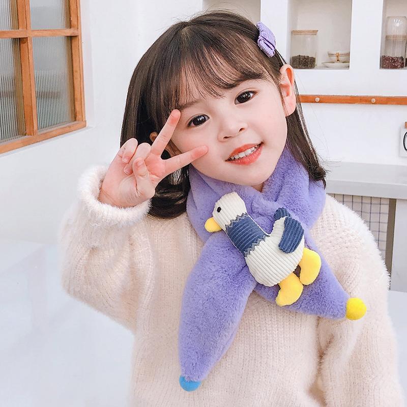 儿童围巾卡通男女宝宝毛绒围巾韩版学生冬季保暖围脖小防风孩围巾