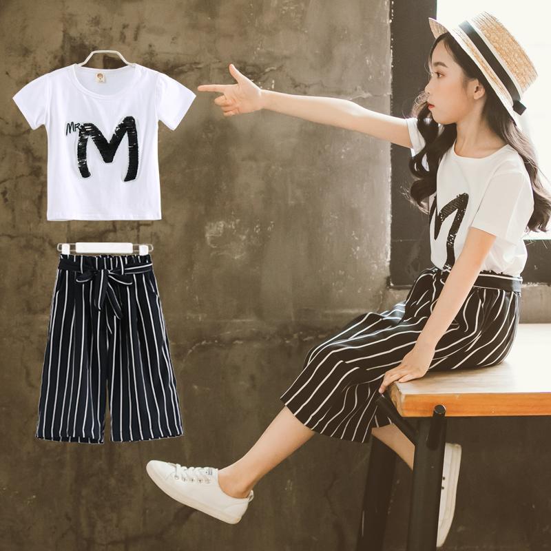 Cô gái mùa hè ăn mặc 2018 mới thời trang phù hợp với Hàn Quốc phiên bản của nước ngoài lớn trẻ em 8 quần chân rộng 9 hai bộ 11 năm tuổi triều