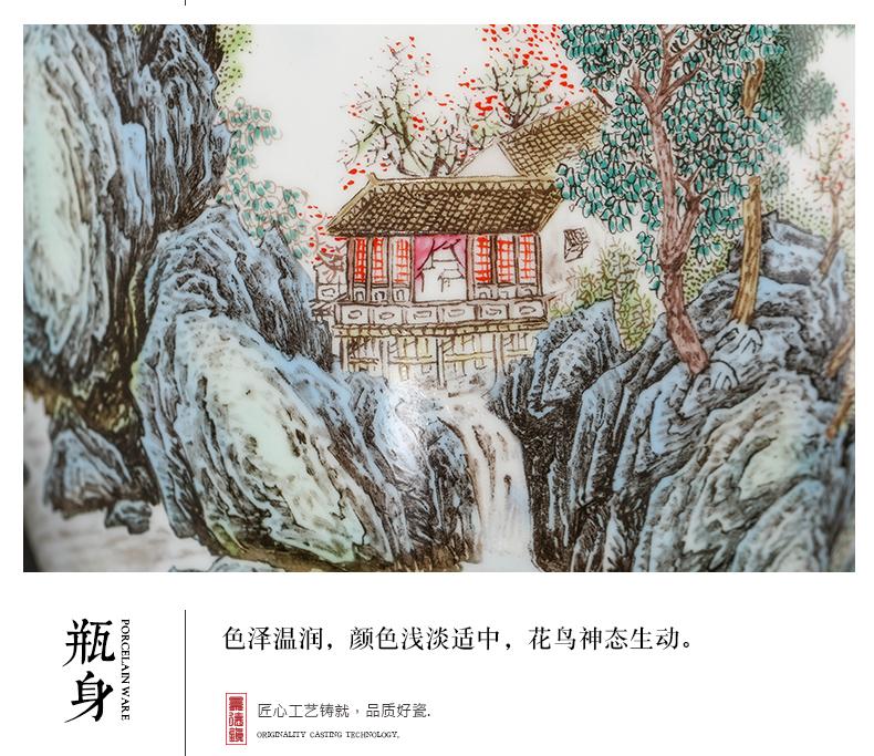 Pastel landscapes of jingdezhen ceramics vase furnishing articles flower arrangement sitting room porch study Chinese decorative arts and crafts
