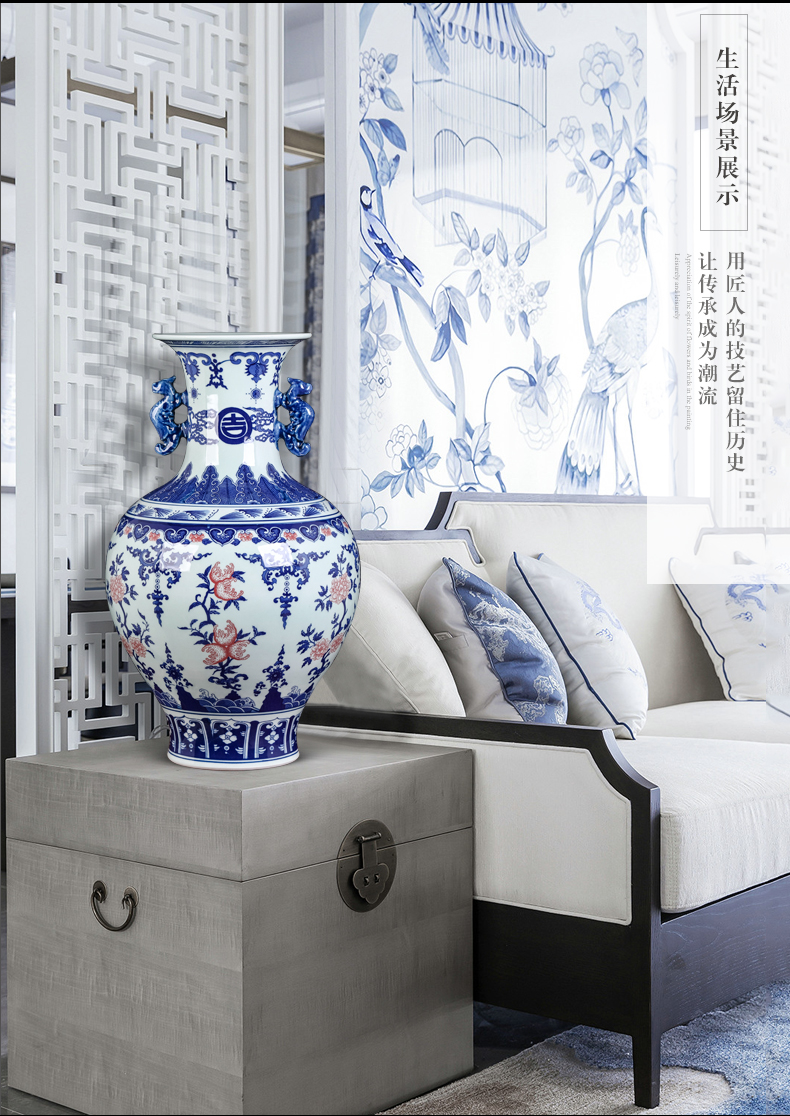 Jingdezhen ceramics archaize ears vases, flower arrangement home furnishing articles of Chinese style restoring ancient ways the sitting room porch wine accessories