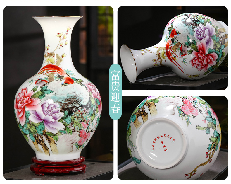 Jingdezhen ceramics powder enamel peony flowers in the vase sitting room porch TV ark, decoration of Chinese style household furnishing articles