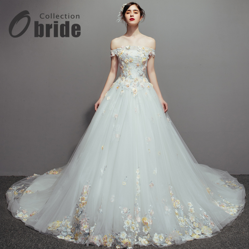Obride свадьба платья 2017 новый один плечо корейский цветы ручной работы роскошный продольный мазок сделанный на заказ продольный мазок свадьба