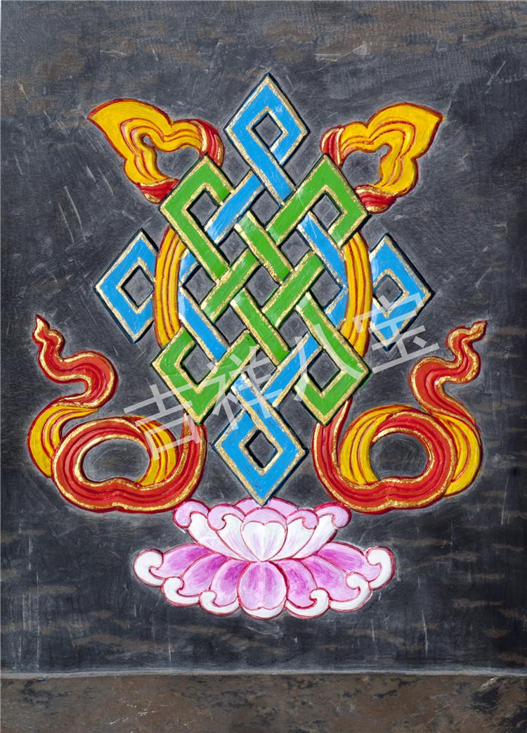 非物质文化遗产藏式吉祥八宝图 手工石刻明信片辟邪祈福家居摆件