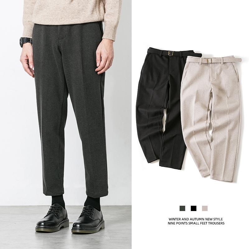 2019冬季新款西裤加厚毛呢长裤直筒九分休闲裤裤子男士潮流呢子男