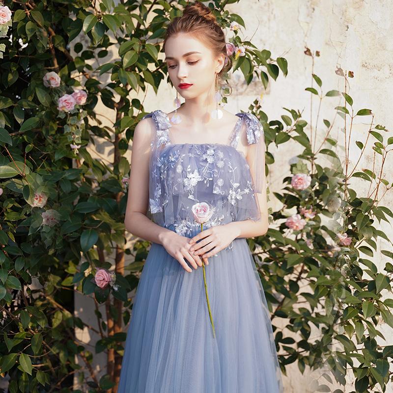 礼服服2019新款夏季v礼服伴娘装团礼服仙学生姐妹蓝色毕业气质裙女