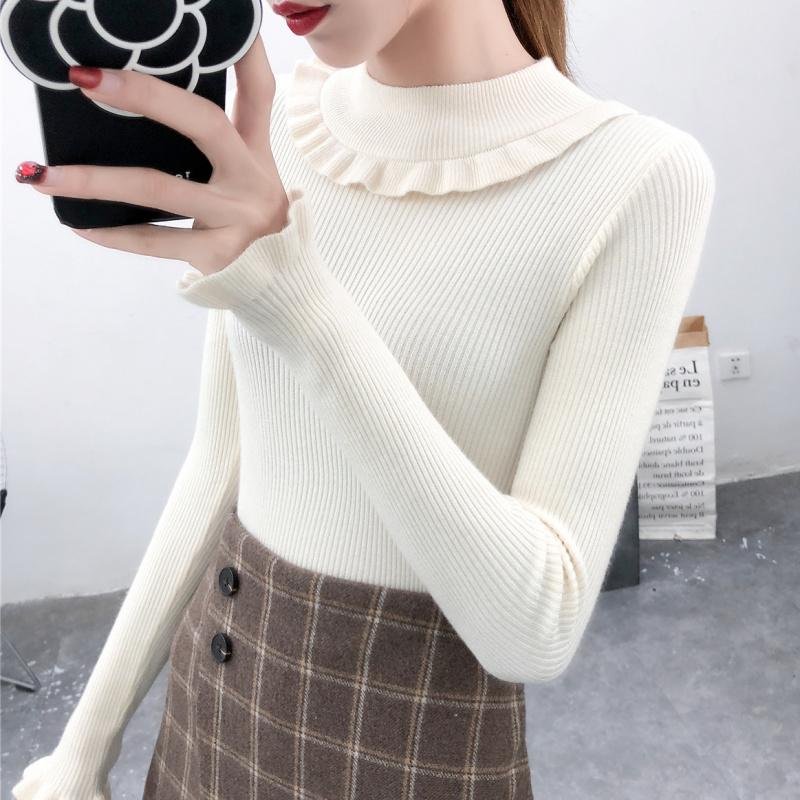 2019秋冬新款韩版长袖圆领毛衣打底衫女百搭套头修身显瘦针织衫