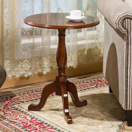 Solid Wood Round Table American Sofa Side Table European Style Simple Round  Coffee Table Small Coffee ...